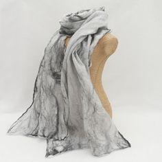 Silk Scarf, nuno felted monochrome scarf £25.00