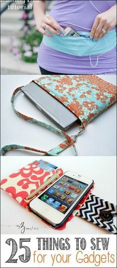 What a cute iphone or ipad holder! Easy sewing projects for all your gadgets that are so cool!