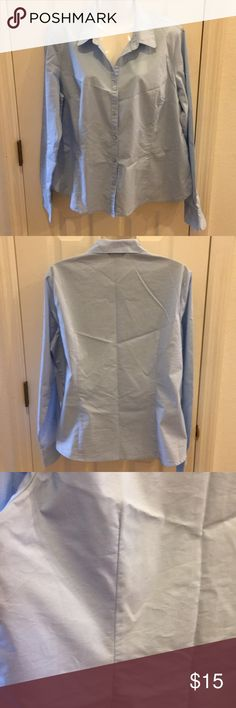 Long Sleeve Button Front Blouse Light blue long sleeve size L blouse with comfort stitch in the front and back to contour your shape. Tops Button Down Shirts