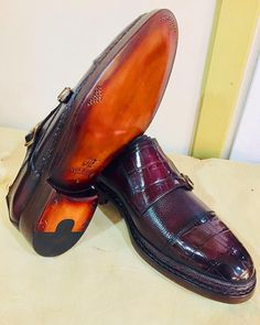 233de5a334d1 Norwegian Goodyear Welted Genuine Crocodile Leather Double Monkstraps To  See ME Shoes  muraterbashoes To Buy