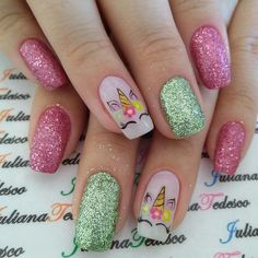 Nail art Christmas - the festive spirit on the nails. Over 70 creative ideas and tutorials - My Nails Unicorn Nails Designs, Unicorn Nail Art, Cute Nail Art, Cute Nails, Pretty Nails, Manicure, Polygel Nails, Nails For Kids, Girls Nails