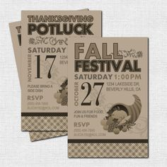THANKSGIVING PARTY INVITATIONS Fall Festival or by nowanorris, $9.00