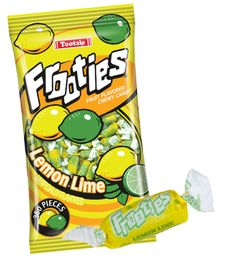 Frooties are a soft, chewy, bite-sized candy that bursts with a fresh lemon lime flavor! Fruit Chews, Strawberry Fruit, Bulk Candy, Fruit Punch, New Flavour, Lemon Lime, Pop Tarts, Snack Recipes, Tropical