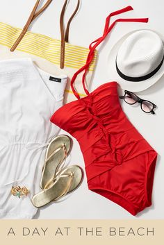 Maybe you're headed for spring break or maybe you're lucky enough to live somewhere sunny and warm. Either way, try a little red swimsuit on for size. You'll be the belle of the beach. For all things spring break, shop Kohl's.