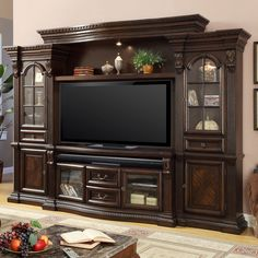 Bella Estate 4 Piece Entertainment Wall Unit in Antique Vintage Dark Almond by Parker House - - Wood Entertainment Center, Home Entertainment, Small Living Rooms, Living Room Decor, Cozy Living, Home Furniture, Furniture Design, Western Furniture, Furniture Stores