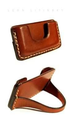 Leather Card Stand by Leon Litinsky.