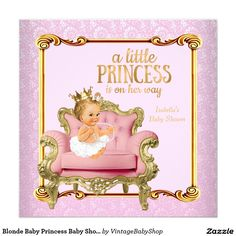 Blonde Baby Princess Baby Shower Pink Gold Chair Invitation