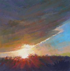 Ed Chesnovitch, landscape pastel painting, Cape Cod, East Sandwich, Provincetown, sunset, salt marsh, ocean, sunrise, clouds, sky