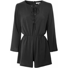 Black Lace Up Long Sleeve Playsuit ($46) ❤ liked on Polyvore featuring jumpsuits, rompers, black, long sleeve romper, black rompers, party rompers, black romper and playsuit romper