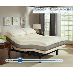 "Sleep Science 9"" Natural Latex Queen Mattress with Adjustable Power Base, Medium-Firm"