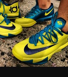 official photos 30b2f 906cd Here is images via simon of the Nike KD VI Yellow Turquoise Sneaker on  feet, I think they look way hotter on feet than them
