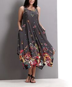 Look at this #zulilyfind! Charcoal Floral Paisley Pocket Scoop Neck Maxi Dress - Plus #zulilyfinds