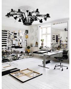 Workspace - Black and white Chandelier desk light studio