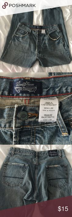 Levi Strauss Signature Jeans 34X30 Never worn. (Distressed look) Low Straight Style Signature by Levi Strauss Jeans Straight