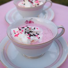 Strawberry Hot Chocolate 1 1/2 c milk 4 T white chocolate 3 T sugar 1/2 c strawberry puree 1/2 t. vanilla extract - Whipped cream topping Sprinkles In saucepan add milk, white chocolate chips, sugar. Heat to melt chocolate. Add strawberry puree, finish heating. Add vanilla extract if using.