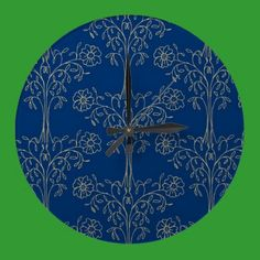 Stylish Wall Clock, Dark Blue, Gold-effect Pattern