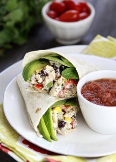 Santa Fe Chicken Salad Wraps...chicken, black beans, red bell pepper, corn, cilantro, avocado.  Mmm.