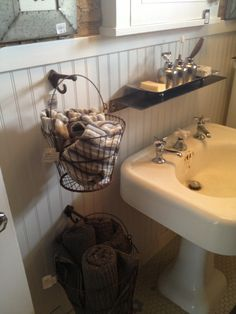 hanging baskets for bathroom storage