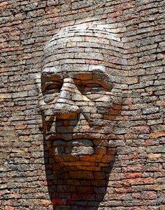 Painting by Andras Vaczi. Art Concret, Concrete Art, Outdoor Sculpture, Outdoor Art, Land Art, Street Art, Mental Health Art, Brick Art, Art Original