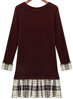 QZUnique Womens Plus Size Pullover Sweater Dress with Plaid Ruffled Skirt Hem Dark Red US S -- BEST VALUE BUY on Amazon