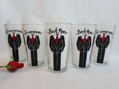 Hand Painted Tux Pub Glasses - Personalized to match your groomsmen, Father of the Bride and Ushers tuxes, by SAM Designs, $24 ea.