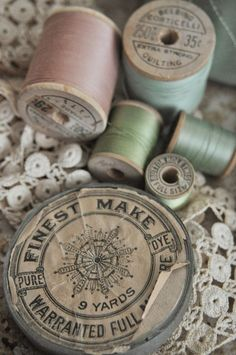 Vintage thread spools and sewing notions