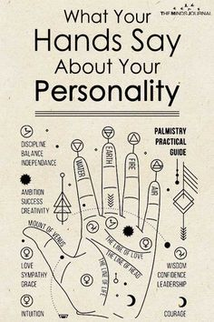 What Your Hands Say About Your Personality is part of Dark Gel nails Make Up - Palmistry reveals individual personality and character traits through the study of the shape, size and lines of the hands and fingers Palm Reading Charts, Palmistry Reading, Witch Spell Book, Chakra Meditation, Tarot Spreads, Book Of Shadows, Numerology, Witchcraft, Words