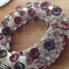 Twilight Themed wreath made from roses formed from the Twilight Novel. Not yet complete.