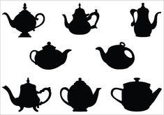 Teapot Silhouette Vector Illustrations Teacup vector drawingsSilhouette Clip Art