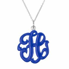 Initial Reaction - Single Initial Sterling Silver Enameled Script Cut Out Pendant #initialreaction