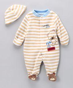 Tan Stripe Lovable Bear Footie & Beanie.....So Cute!!