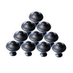 10 Cabinet Knobs Black Wrought Iron Mission 1