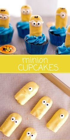 Minion Cupcakes with ladyfingers are as fun to make as they are to eat! They're the perfect sweet treat for a Minion theme party! #cupcakes #partyfood #dessert #bakedgoods #kidscrafts #crafts #minions