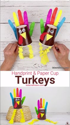 This HANDPRINT AND PAPER CUP TURKEY CRAFT is so colourful and fun! These bright and cheery turkeys are perfect as a Thanksgiving craft for toddlers and preschoolers. This simple Handprint Turkey Craft Thanksgiving Crafts For Toddlers, Thanksgiving Crafts For Kids, Thanksgiving Activities, Arts And Crafts For Kids Toddlers, Craft Kids, Toddler Crafts, Preschool Crafts, Paper Cup Crafts, Paper Cups