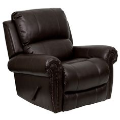Eco-Friendly Plush Oversized Rocker Recliner with Brown Leather Upholstery