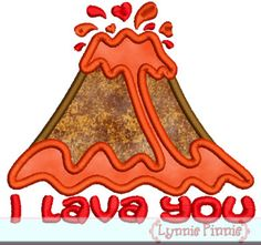 I LAVA YOU Volcano Applique 4x4 5x7 6x10 7x11 SVG  Machine Embroidery Design valentine's day love. $2.99, via Etsy.