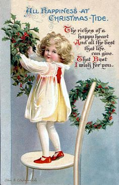 Vintage Christmas Postcard ~ Little girl decorating with holly.