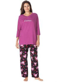 3/4 sleeve pajama set by Dreams & Co. | Plus Size Dreams & Co | Roamans  $34.99  02/01/2015