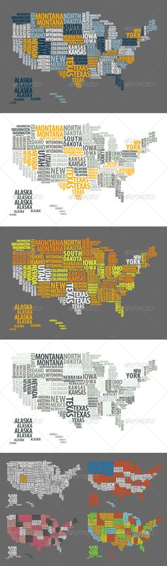 word map of US... (I think I will need to recreate this... and I have a vinyl cutter to 'stick' this on the wall...)