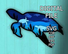 Turtle/ Ocean coast/ Laser cut files/ SVG/ DXF/ Home decor/   Etsy Wall Art Designs, Designs To Draw, Cricut, Happy Fox, 3d Paper Art, Laser Cut Patterns, Laser Cutting Machine, Mandala Design, Mandala Pattern