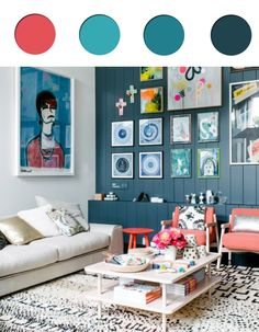 Teal and coral interior palette * Teal colour trend 2016 - teal paint ideas, inspirations and palettes - ITALIANBARK interiordesign blog #teal #tealhomedecor #tealpaint > http://www.italianbark.com/interior-trends-teal-paint-ideas/