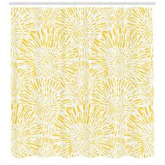 East Urban Home Ambesonne Yellow Shower Curtain, Hand Drawn Vintage Floral Pattern With Dandelions Asters Abstract Blossoms Nature, Cloth Fabric Bathr Yellow Shower Curtains, Shower Curtain Sets, Bathroom Color Schemes, Shower Liner, Home Textile, Vintage Floral, Vibrant Colors, Bathroom Kids, Master Bathroom