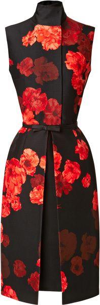 GIAMBATTISTA VALLI Orange Wool Blend Floral Printed Dress - Lyst