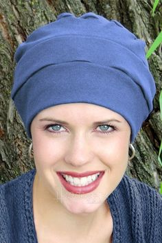 We love this soft cotton turban. Perfect for cancer patients and women with hair loss.