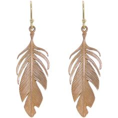 Annette Ferdinandsen Large Rose Gold Feather Earrings ($785) ❤ liked on Polyvore featuring jewelry, earrings, feathers, rose, long drop earrings, feather jewelry, 14 karat gold earrings, 14k earrings and 14k rose gold jewelry