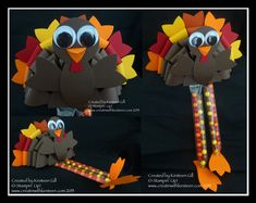 Thanksgiving Turkey Table Treat made using Stampin' Up! Gift Bow Bigz Die.  www.creatinwithkirsteen.com