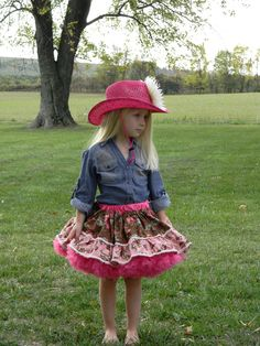 Girls Pink Cowgirl Pettiskirt. $48.00, via Etsy.