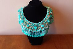 Vintage Sky Blue and Rhinestone Beaded Collar Necklace at WhimsicalVintage
