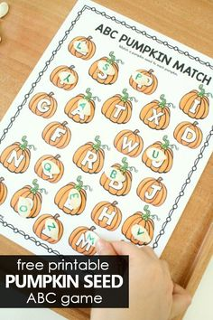 Free Printable ABC Pumpkin Matching Game for Fall or Halloween Use this free printable Pumpkin Letter Matching ABC Game in preschool and kindergarten to go with your pumpkin theme or Halloween activities. Preschool Reading Activities, Autumn Activities For Kids, Preschool Literacy, Letter Activities, Free Preschool, Preschool Themes, Preschool Printables, Halloween Preschool Activities, Indoor Activities