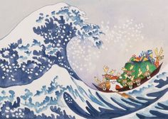 Santa's Wave - Hokusai Art Parody Boxed Christmas Cards Easy Street Publications